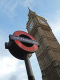 Symbol of London and United Kingdom. The symbolic representative of London, UK - Big Ben (the clock tower) and London Underground sign Stock Photography