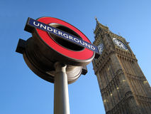 Symbol of London and United Kingdom. The symbolic representative of London, UK - Big Ben (the clock tower) and London Underground sign Royalty Free Stock Photos