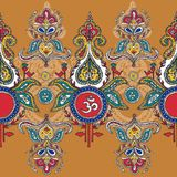 Symbol lord shiva om.pattern. Indian colorful textile pattern wim om Stock Illustration