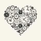 Symbol of love forever. Vector heart with a background of clock, alarm clock and dial Royalty Free Stock Image