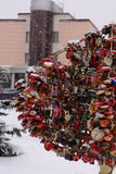 Symbol of love lock hung on a tree, and throw the key. A symbol of love lock hung on a tree, and throw the key. Kazan. Russia Stock Photography