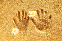 Symbol of love. Prints of love on the sand Stock Photo