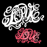 Symbol of love and Valentines day lettering Royalty Free Stock Images