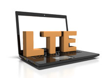 Symbol LTE on a laptop computer, high-speed wireless communication concept, 3d render Royalty Free Stock Photo