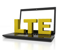 Symbol LTE on a laptop computer, high-speed wireless communication concept, 3d render Stock Images