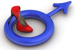Symbol męski rodzaj pod szpilki kobiety ` s buty ilustracji