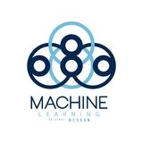 Symbol of machine learning. Computers and artificial intelligence technologies. Flat icon in blue color. Vector design. Symbol of machine learning. Computers and Royalty Free Stock Photo