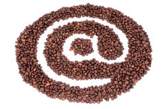 The @ symbol made ​​from coffee beans Royalty Free Stock Images