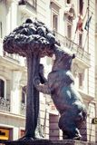 Symbol of Madrid. Statue of Bear and strawberry tree, Puerta del Sol, Spain. Royalty Free Stock Photos