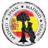 Symbol of Madrid - statue of Bear and strawberry tree vector. Grunge stamp with statue of Bear and strawberry tree and the words Madrid, Spain inside, vector Royalty Free Stock Image