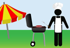 Symbol Man chef Cooks Out on Barbecue Royalty Free Stock Photo