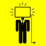 Symbol man monitor. On a yellow background Royalty Free Stock Image