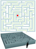 Symbol man with plan for solution of maze puzzle. A symbol person with a plan for a solution of a maze puzzle Royalty Free Stock Photos