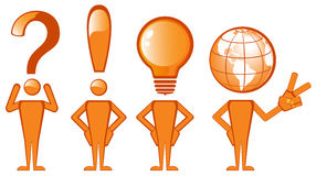 Symbol man. Set of various symbols such as question mark and exclamation mark, light bulb and globe Stock Images