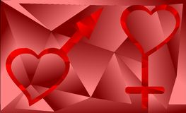 Symbol of man and woman on an artistic background. An artistic image with symbols of man and woman on a background in shades of red. An idea that can be used to Royalty Free Stock Photos