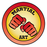 Symbol Martial arts. Original colored sports style vector emblems. Japan, Korea, Okinawa Stock Photography