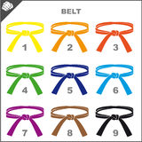 Symbol Martial arts- colored belts. Original colored sports style vector emblems. Japan, Korea, Okinawa Royalty Free Stock Photo