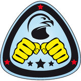 Symbol Martial arts- fists,hawk,eagle. Original colored sports style vector emblems. Japan, Korea, Okinawa Stock Image