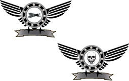 Symbol mechanical. Mechanical symbol with wings and mechanical gear royalty free illustration