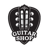 Symbol med den gitarrhalsen och hackan royaltyfri illustrationer