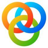 Symbol med 3 gripa in i varandra cirklar cirklar Det abstrakta symbolet för lurar stock illustrationer
