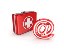 AT symbol and medical suitcase. Stock Images