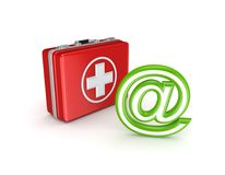 AT symbol and medical suitcase. Stock Photo