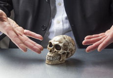 Symbol of memory or brain surgery. Male hands presenting a skull for scientific purpose Royalty Free Stock Photography