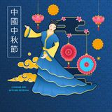 Symbol of mid autumn, chinese girl in traditional dress. vector illustration