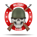 Symbol of Military green helmet and skull Stock Photos