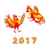 Symbol mit zwei rotes Hahnen 2017-jährig stockfoto