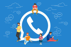 Symbol of mobile messenger concept illustration. Of young people using mobile gadgets such as tablet pc and smartphone for texting and calling via internet Royalty Free Stock Photography