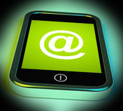 At Symbol On Mobile Shows @ At-Sign Email Stock Image