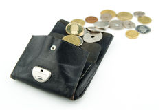 Symbol of money matters. Old purse with scandinavian coins in different colors and sizes floating out Royalty Free Stock Image