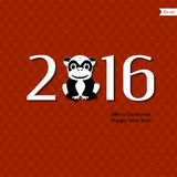 Symbol of a monkey. Background with the inscription - 2016 - Happy New Year - a stylized symbol of a monkey, the Chinese zodiac, in red and black. Background Stock Images
