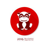 Symbol of a monkey. Background with the inscription - 2016 - Happy New Year - a stylized symbol of a monkey, the Chinese zodiac, in red and dark red Royalty Free Stock Photography
