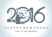 Symbol of monkey 2016. Symbol of 2016. Monkey in a circle. New Year's design Royalty Free Stock Image