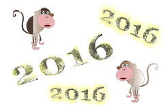 Symbol 2016 - monkey. Fluffy, hairy figures 2016, and two surprised wonderment like monkeys, with fur that ran at the numbers Royalty Free Stock Photos