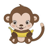 Symbol of 2016 - a monkey. Vector Cartoon character on a white background Stock Image