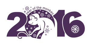 Symbol of monkey 2016. Vector element for New Years design Stock Images