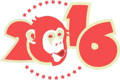 Symbol 2016 monkey. Symbol of year on Chinese calendar monkey in red on figures of the year Stock Image