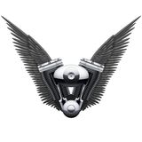 Symbol of motorcycle engine with Black open wings Royalty Free Stock Photos