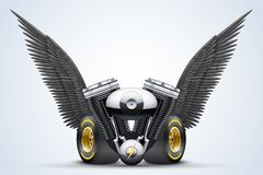 Symbol of motorcycle engine with Black open wings Stock Photo