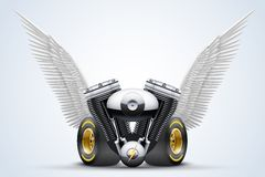 Symbol of motorcycle engine with White open wings Royalty Free Stock Photos