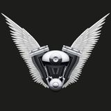 Symbol of motorcycle engine with White open wings Stock Photo