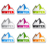 Symbol of mountains - sticker of winter stock illustration