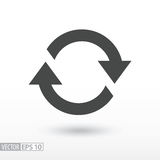 Symbol of movement, rotation, cyclic recurrence. Symbol of movement flat icon. Sign rotation, cyclic recurrence. Vector logo for web design, mobile and Stock Photo