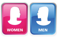 Symbol_MW. Set of two icons, men and women Royalty Free Stock Images