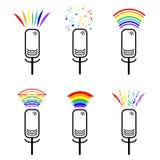 Symbol należenie plciowe mniejszości Set ikona mikrofony z tęcza dźwiękami Lesbijki i homoseksualiści LGBT znak royalty ilustracja