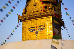 Symbol of Nepal, Buddha's Eyes in Kathmandu. Stock Images